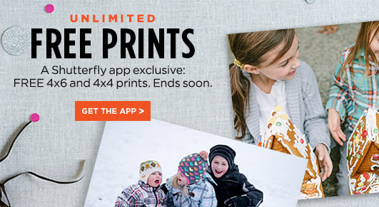 Get free unlimited 4x6 photo prints from Shutterfly right now when you order through the mobile app!