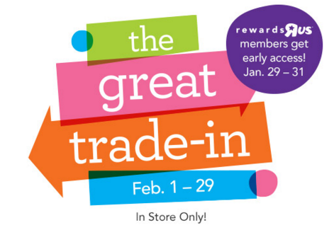 Visit the Babies R Us Trade-In-Event during February to trade in your used items for 25% off discount coupons!