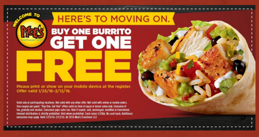 Get buy one, get one free burritos at Moe's with this new coupon!