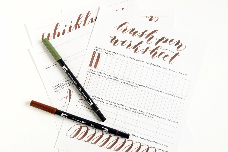 Free printable Brush Pen Calligraphy printable worksheets Money – Calligraphy Worksheet