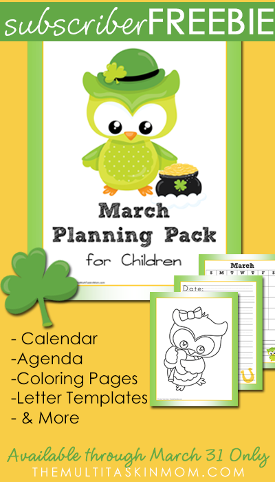 Free March Children's Planning Pack