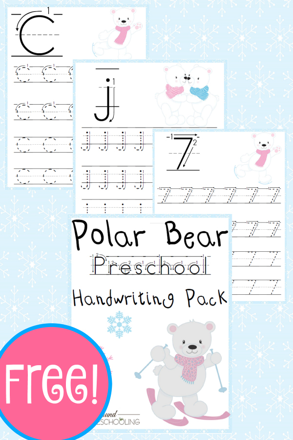 Free Polar Bear Preschool Handwriting Pack