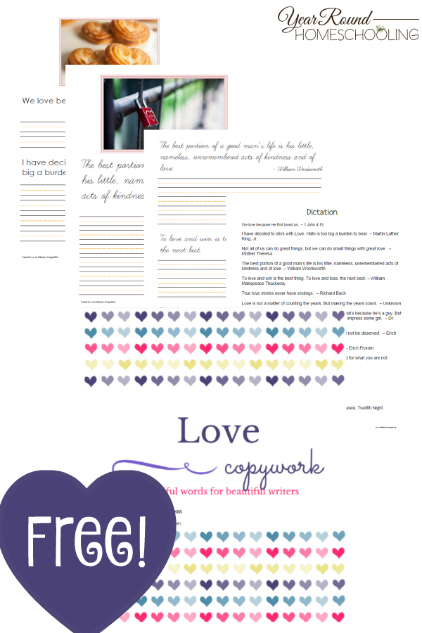 Free Printable Valentine's Day Copywork Pages