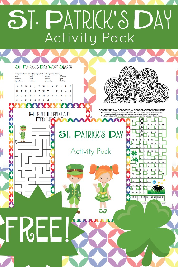 Download a free printable St. Patrick's Day activity pack!