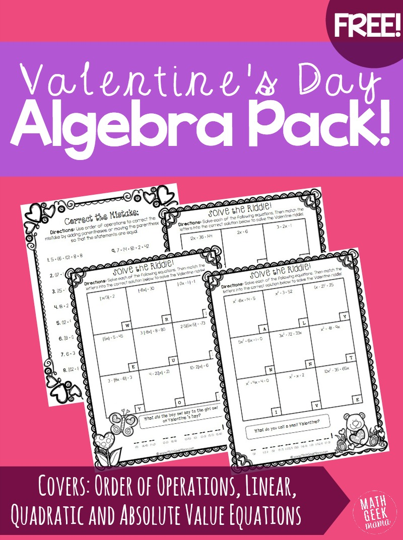Free Valentine's Day Algebra Practice Pack