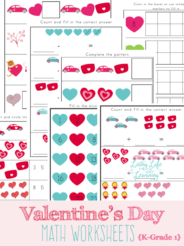 Free Valentine\'s Day Kindergarten Math Worksheets - Money Saving Mom®