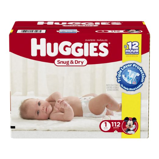 Huggies Snug and Dry Diapers, Size 1, 112 Count Deal