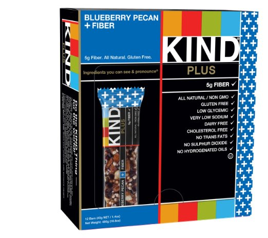 KIND PLUS Blueberry Pecan + Fiber Gluten Free Bars, Gluten Free Bars (12 Count) Deal