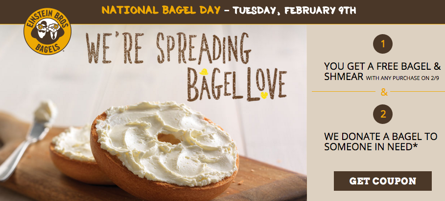 Get a free bagel and shmear at Einstein Bros. Bagels today with any purchase!
