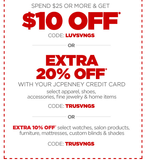 Get $10 off your $25 purchase at JCPenney right now!