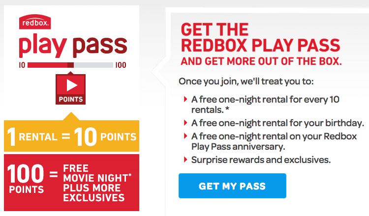 Join the Redbox Play Pass program to earn free DVD rentals and rewards!