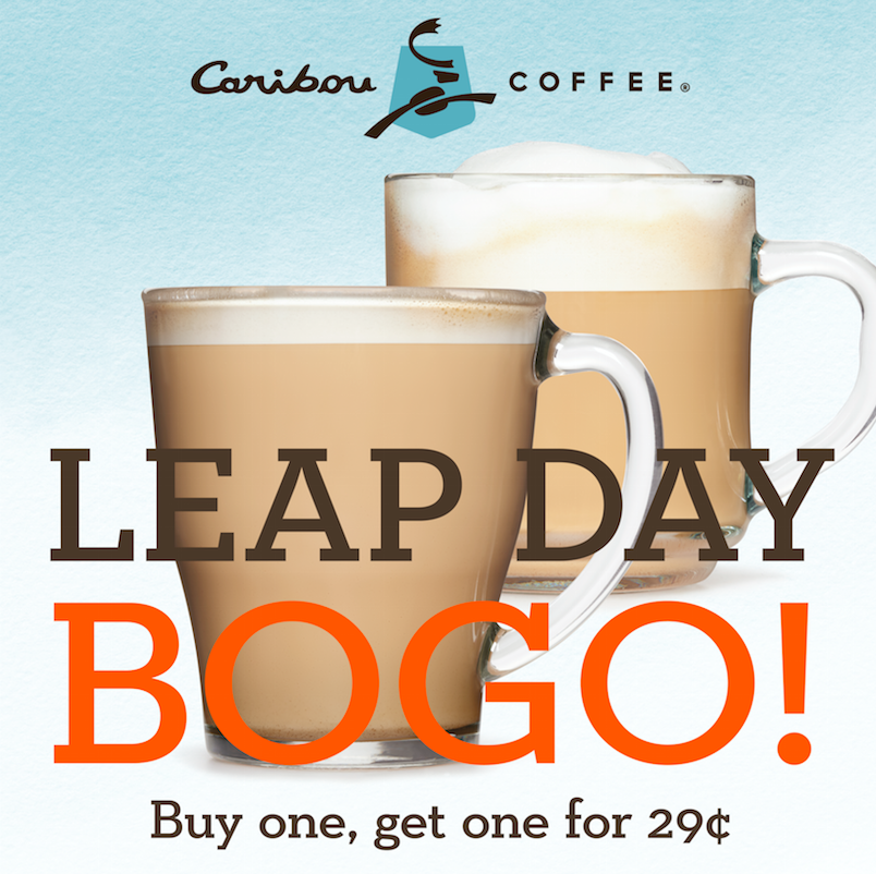 Buy one coffee, get one coffee for $0.29 today at Caribou Coffee!