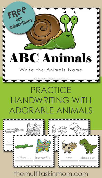 Free ABC Animals Handwriting Practice Printable