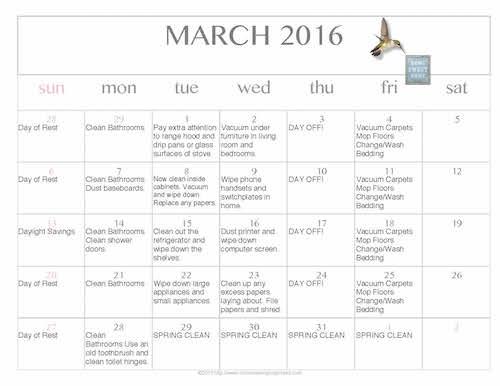 Free Editable Printable March 2016 Cleaning Calendar - Money Saving ...
