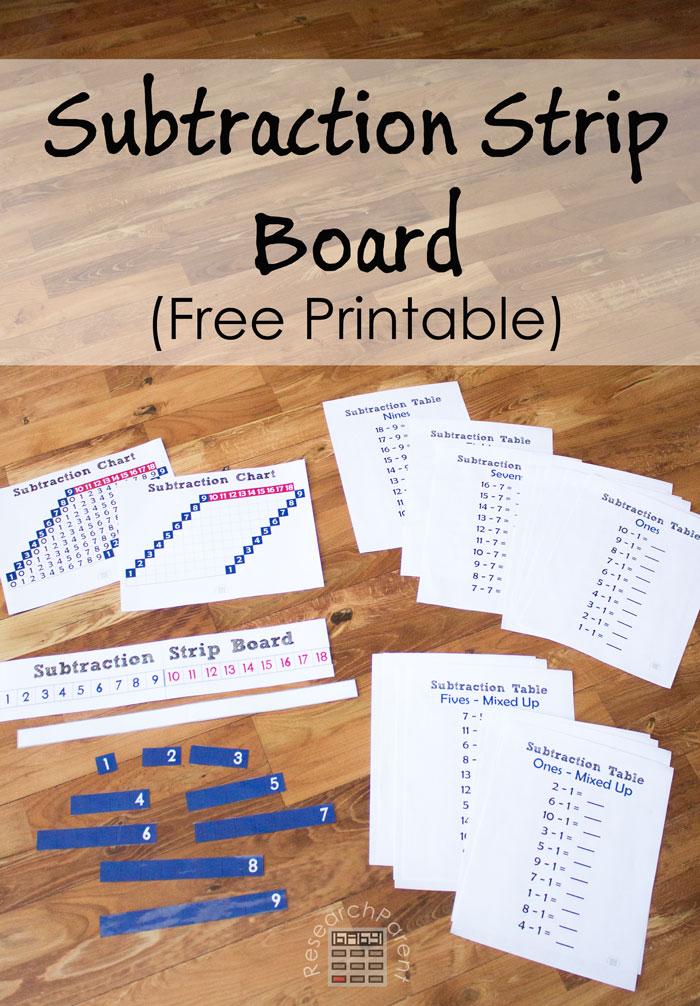 Free Printable Subtraction Strip Board