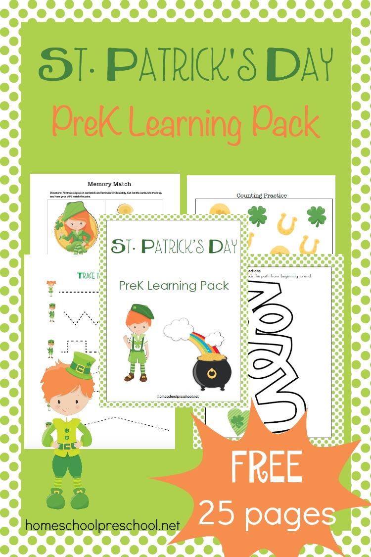 Free St. Patricks Day Preschool Printable Pack - St Patricks Day Kindergarten