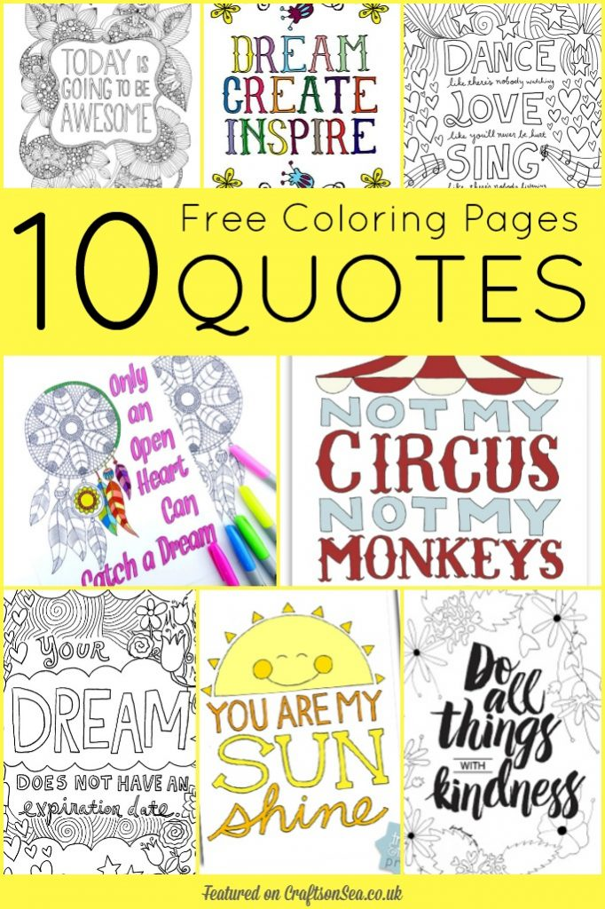 Printable Quote Coloring Pages Set Of 3 Quotes Colouring