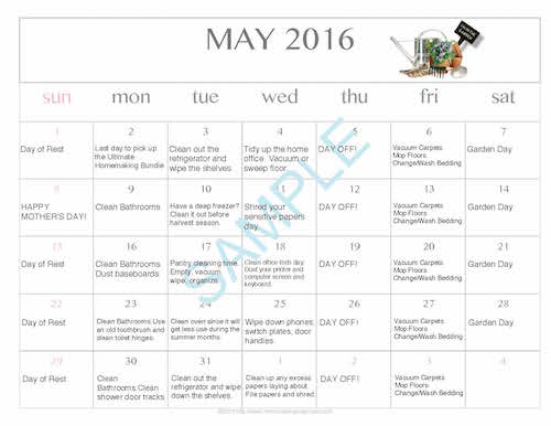 Download a free editable printable May 2016 cleaning calendar!