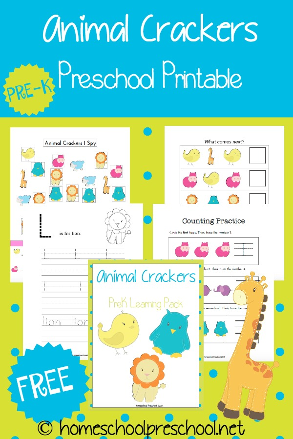 Free Animal Crackers Preschool Printable