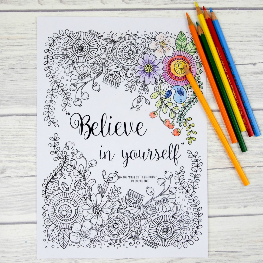 Printable Believe Yourself Coloring Pages Money