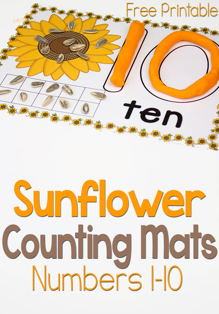 Free Printable Sunflower Play Dough Mats for Numbers