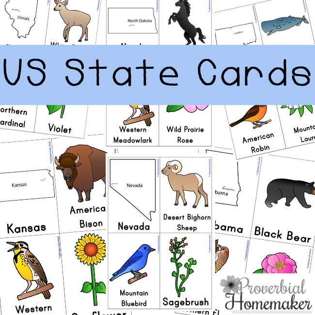 Free Printable US State Cards