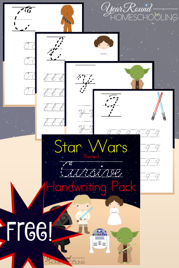 Free Star Wars Themed Cursive Handwriting Printable Pack