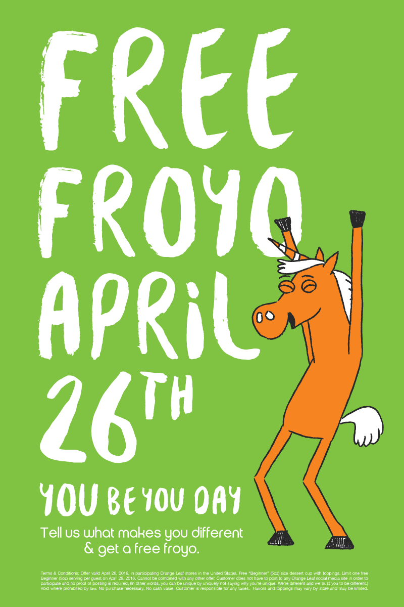 Get a free cup of frozen yogurt at Orange Leaf on Monday, April 26!