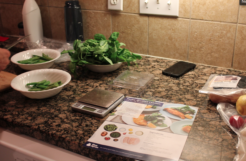Blue Apron ingredients on kitchen counter