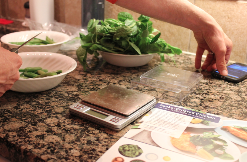 prepping a Blue Apron meal