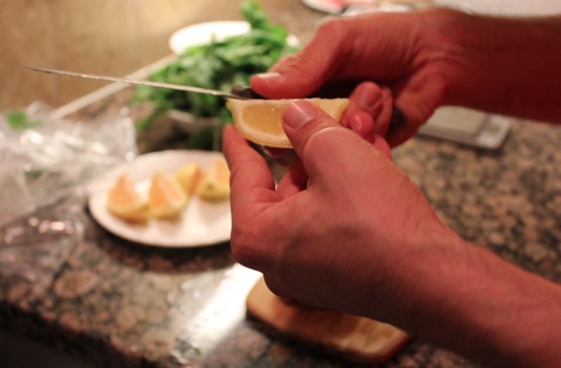 slicing lemon