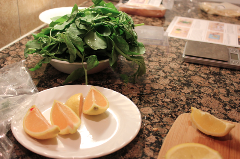 green and lemon slices for meal