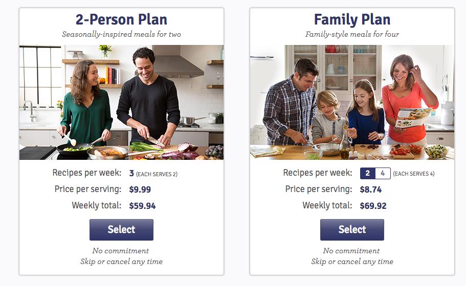 Blue Apron meal plan options