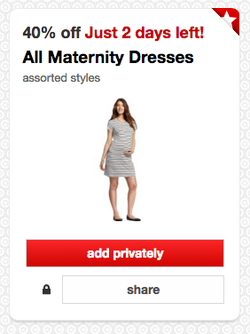 Get 40% off all maternity dresses at Target!