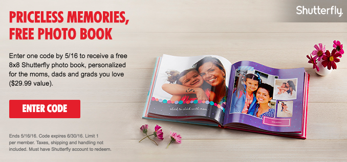 Enter a My Coke Rewards code by May 16 to get a FREE 8x8 Shutterfly photo book!