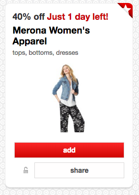 Get 40% off women's Merona clothing at Target right now!