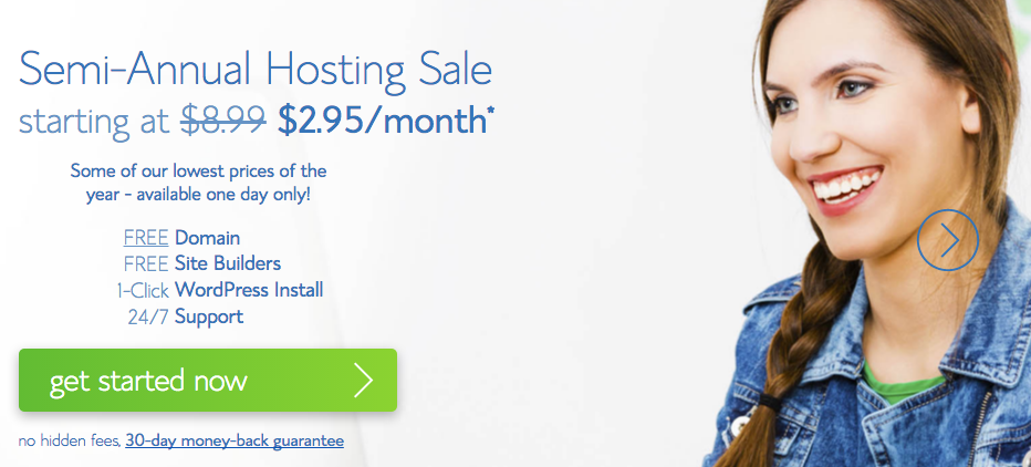 Get Bluehost monthly hosting for just $2.95 per month right now!!!!