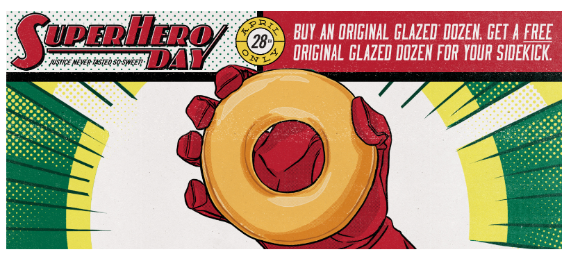 Buy one dozen doughnuts, get one dozen free at Krispy Kreme today!