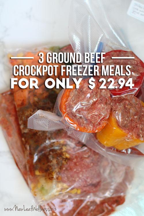 Three Ground Beef Crockpot Freezer Meals for $22.94