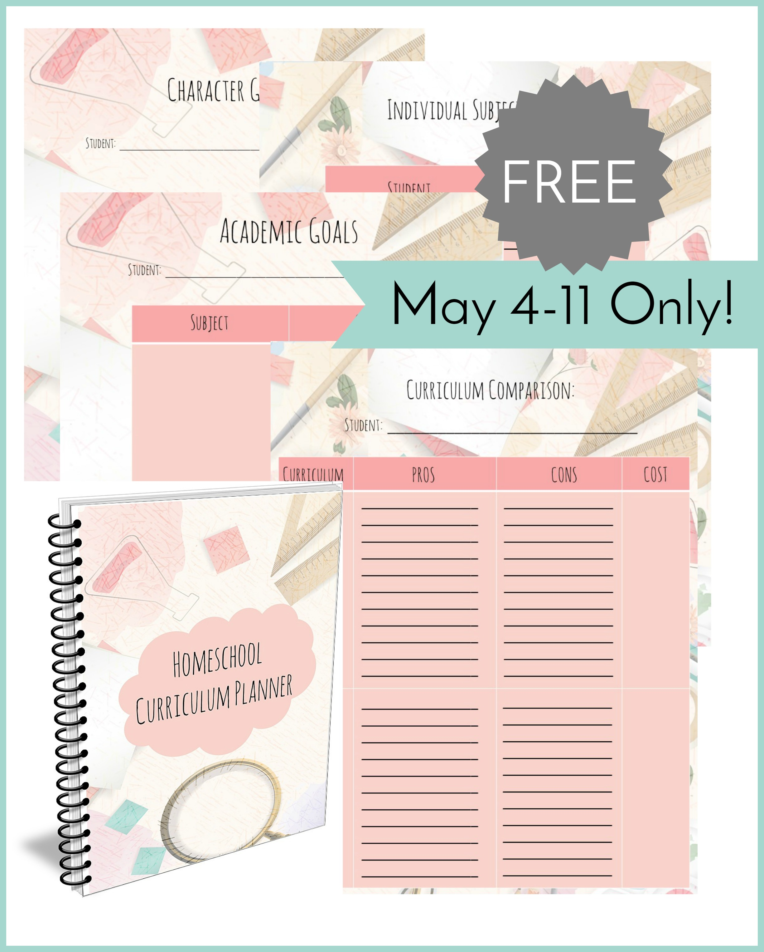 Download a free printable homeschool curriculum planner!