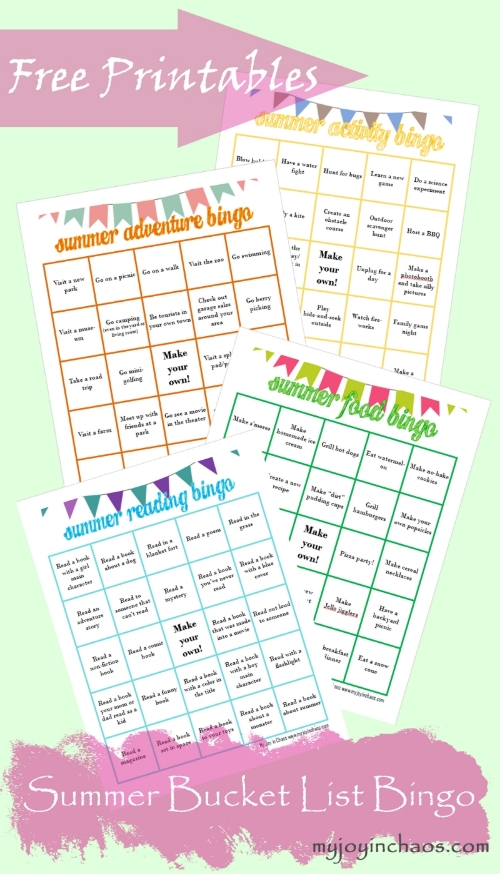 Download a set of free printable summer bucket list bingo cards!