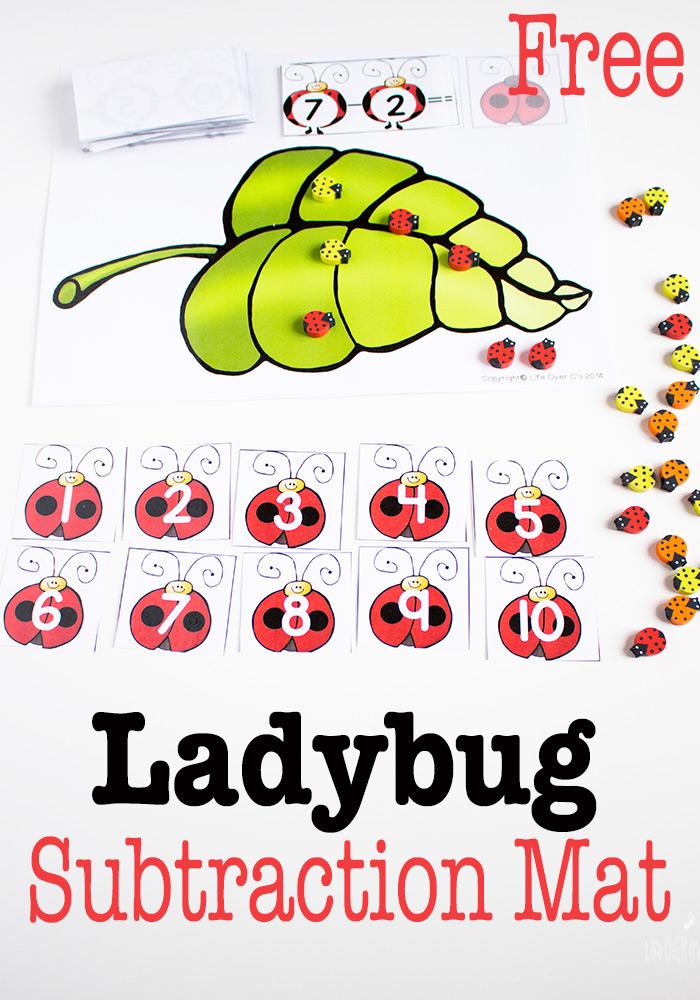 Free Printable Ladybug Subtraction Mat
