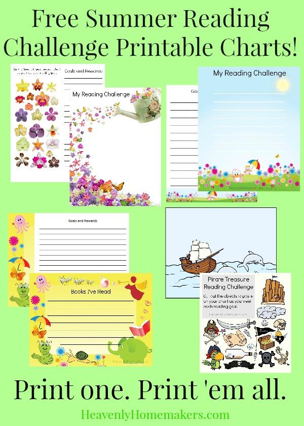 Free Summer Reading Challenge Printable Charts
