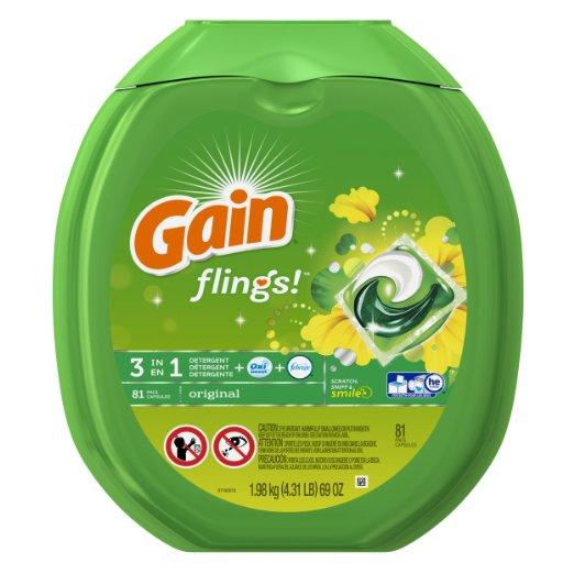 Gain Flings Original Laundry Detergent Pacs, 81 Count Deal