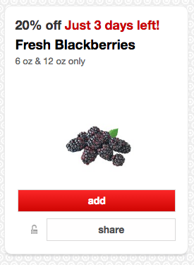 Get 20% off fresh blackberries at Target right now!