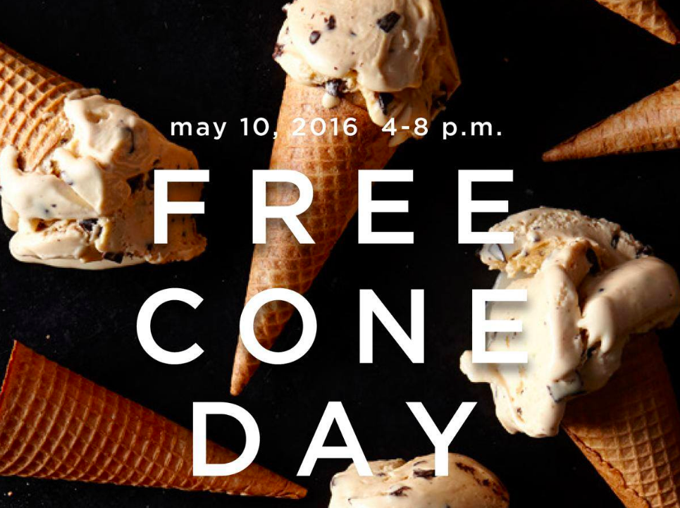 Stop by Haagen-Dazs to get a free ice cream cone on Tuesday, May 10!