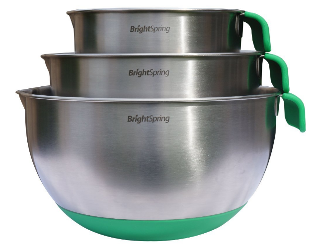 Get this 3-piece set of BrightSpring Stainless Steel Mixing Bowls for just $17.50 right now!