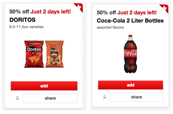 Get 50% off Doritos and Coca-Cola 2-liter bottles at Target right now!