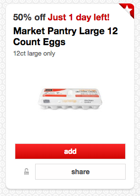 Get 50% off Market Pantry Fresh Eggs at Target right now!