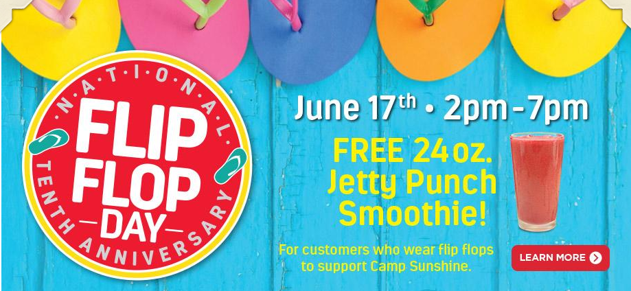 Stop by Tropical Smoothie Cafe on June 17, 2016 to get a free smoothie!